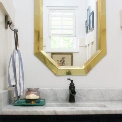 Navy and White Bathroom Renovation