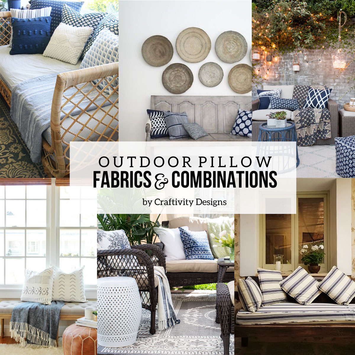 14 Outdoor Pillow Fabrics And Combinations By @CraftivityD