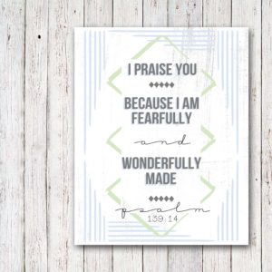 Scripture Art Graduation Gift, Fearfully and Wonderfully Made, by @CraftivityD