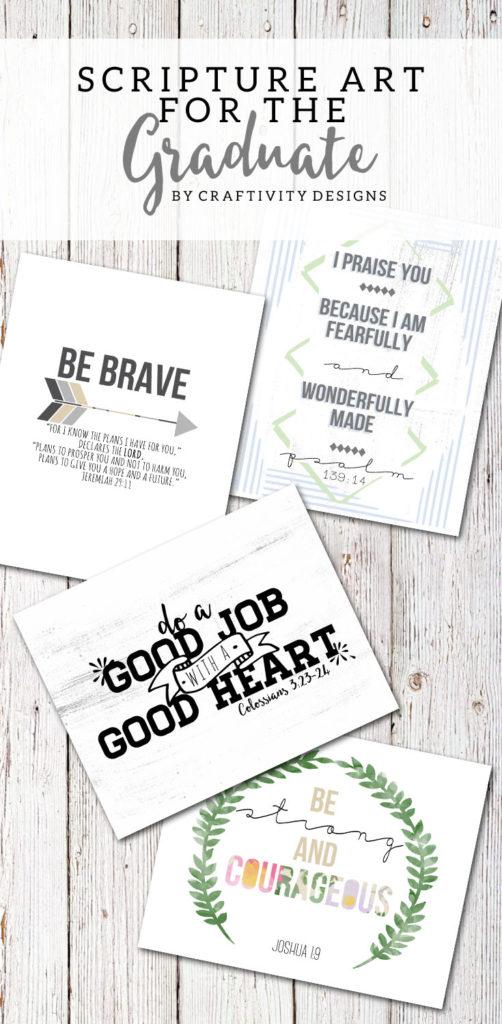 Scripture Art Graduation Gift, printable gift, wall art, dorm room art, Christian Graduation Gift Ideas, by @CraftivityD