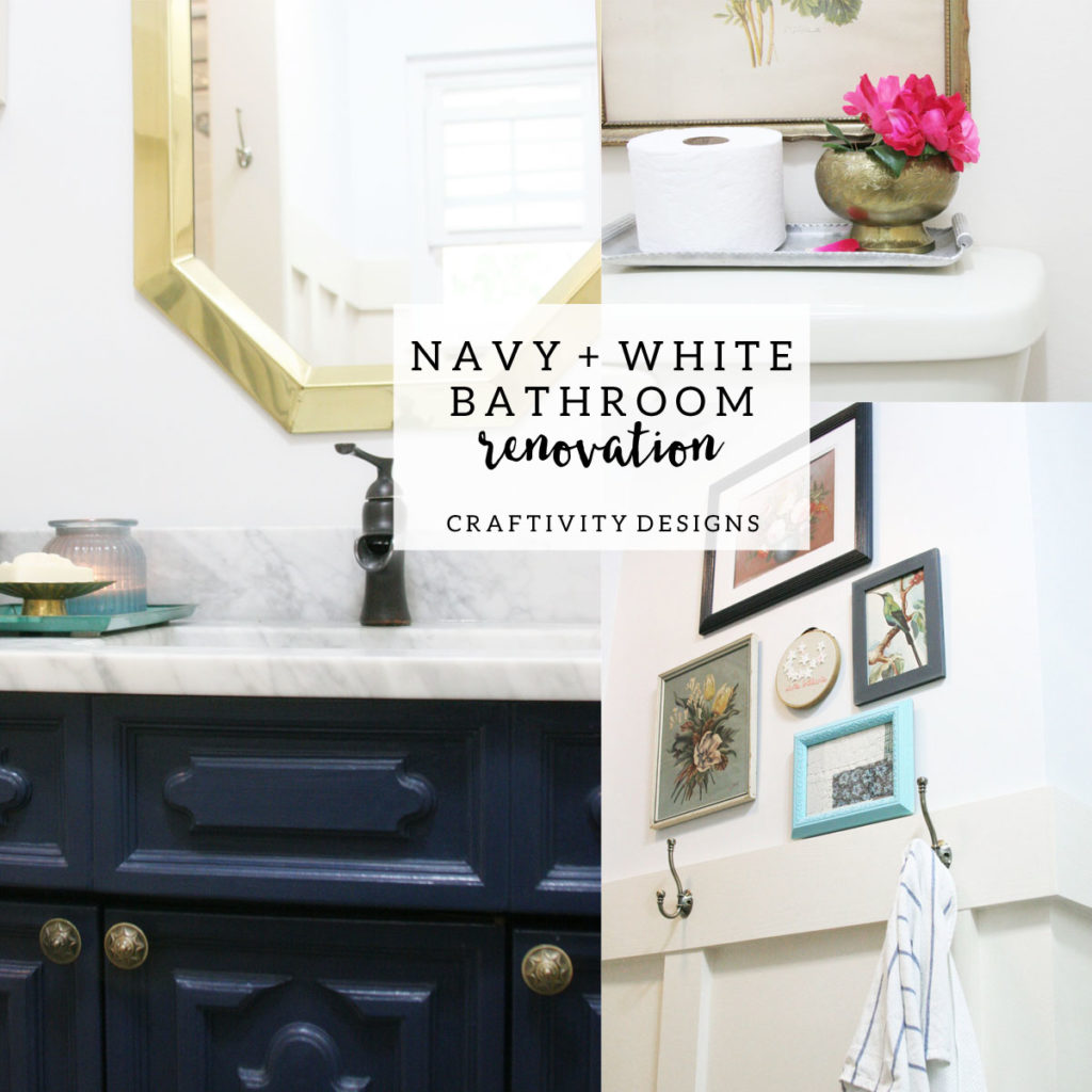 Navy and white bathroom renovation with vintage art, marble, board and batten. Ideas for a small bathroom or guest bath makeover. by @CraftivityD