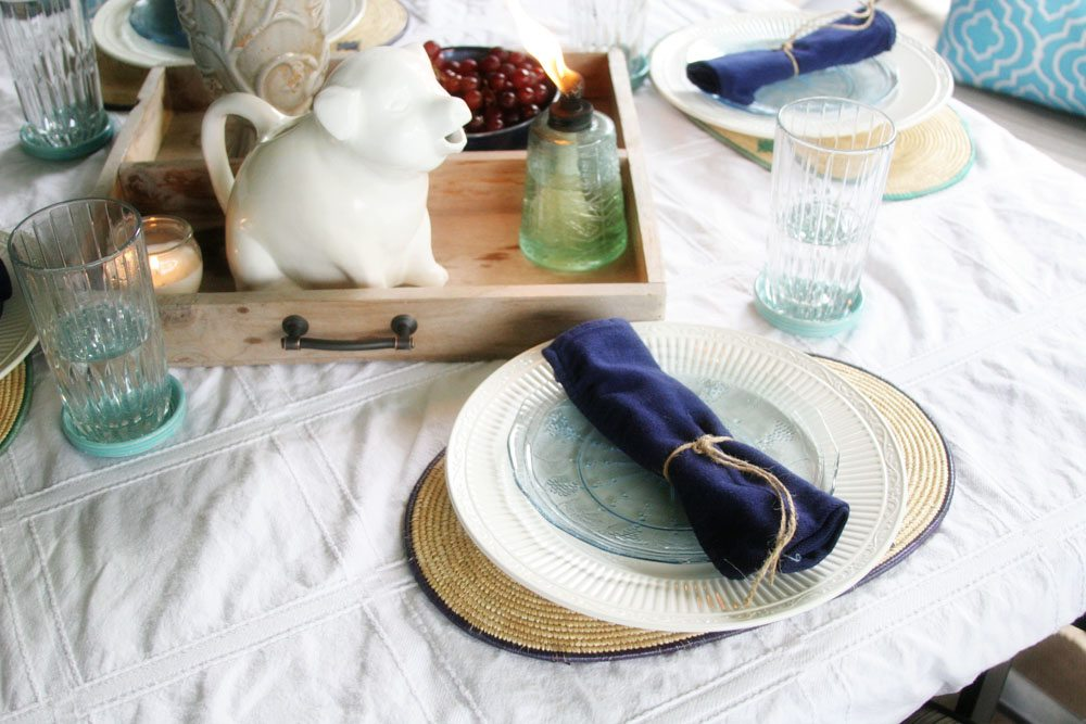 Farmhouse Style Summer Tablescape, Table Setting, Rustic, Simple, Casual, by @CraftivityD