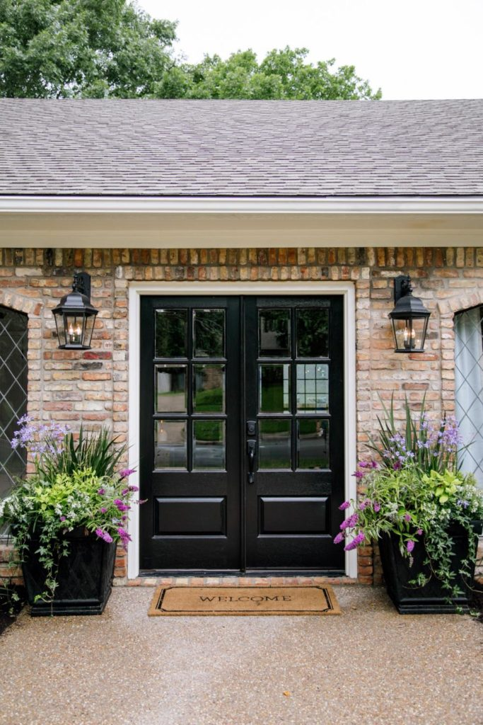 Black front door ideas with brick exterior