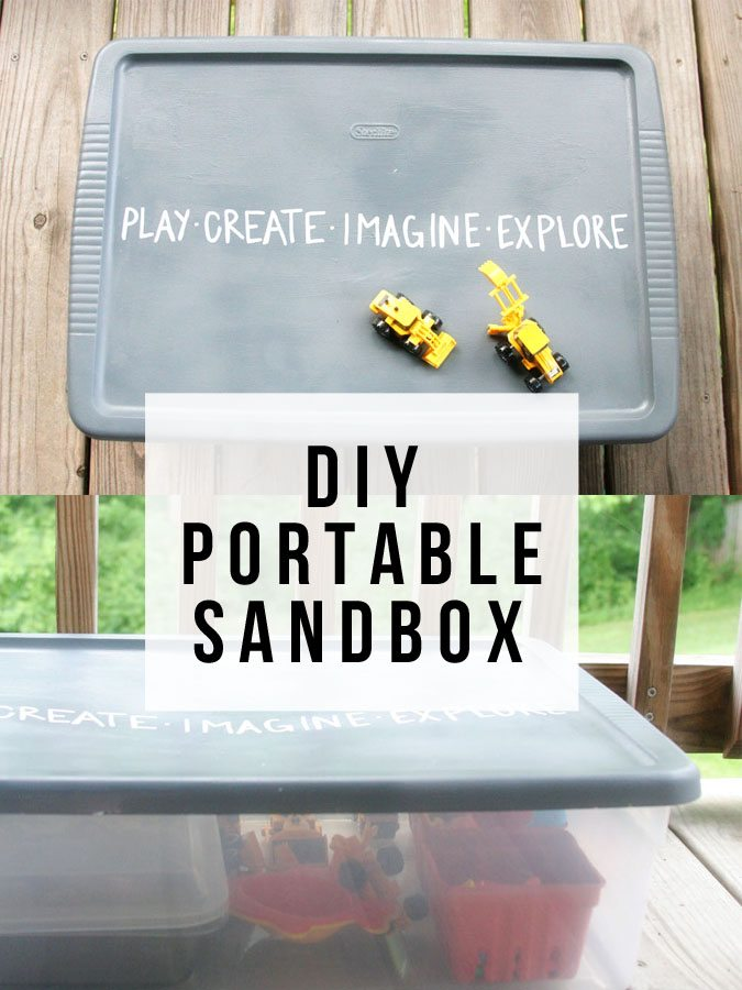 A DIY portable sandbox is a great, mess-free activity for your kids. Learn how to make a portable sandbox to keep them entertained today! | Activities for Kids | Summer Activities for Kids | Outdoor Activities for Kids | DIY Portable Sandbox | #activitiesforkids #summer #summeractivities #DIYforkids
