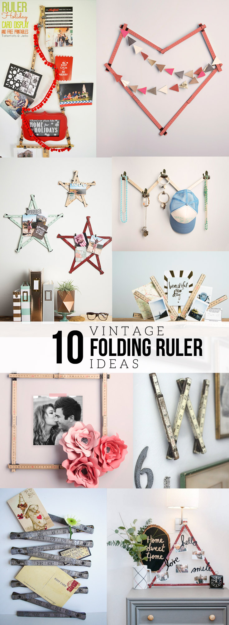 10 Vintage Folding Ruler Ideas, DIY Photo Display Idea using a Vintage Folding Ruler, Instagram Photo Display, by @CraftivityD