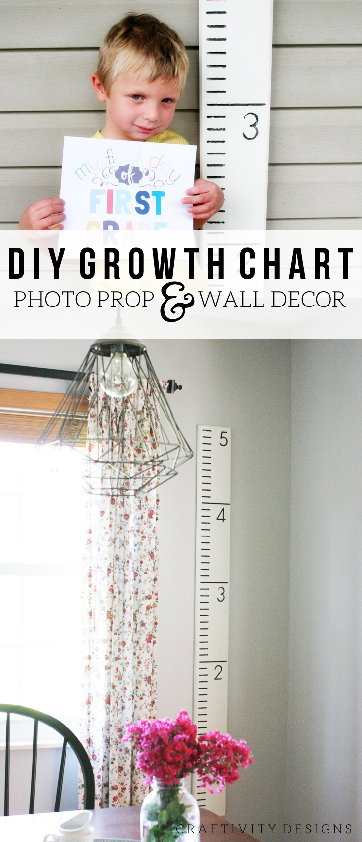 DIY Growth Chart Photo Prop + Wall Decor, How to Make a DIY Growth Chart, by @CraftivityD
