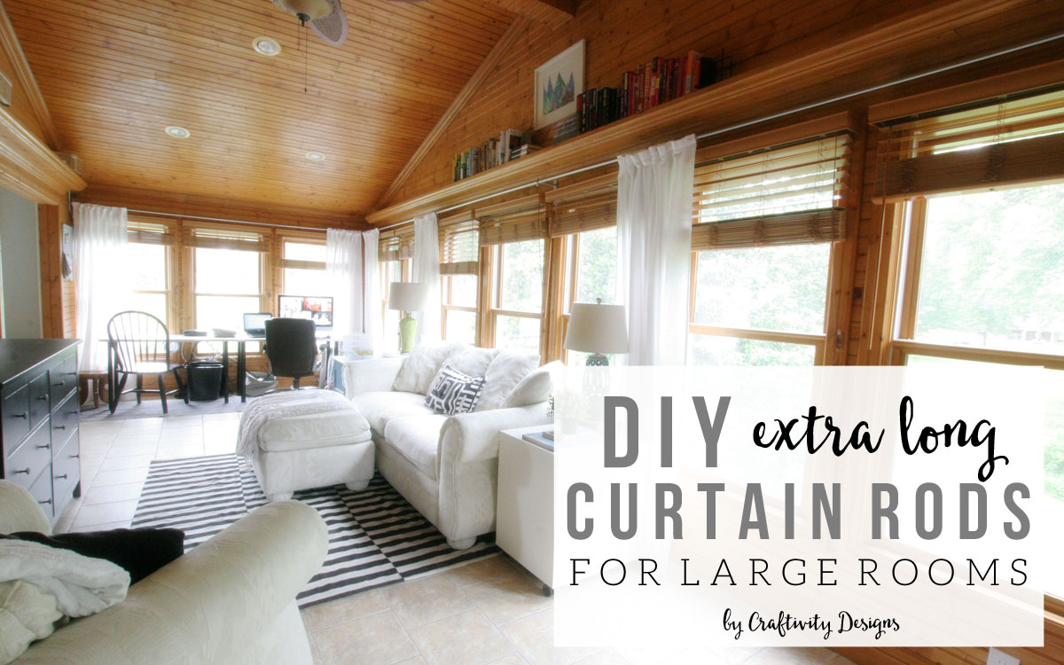 how to diy long curtain rods our sunroom is a large room filled with
