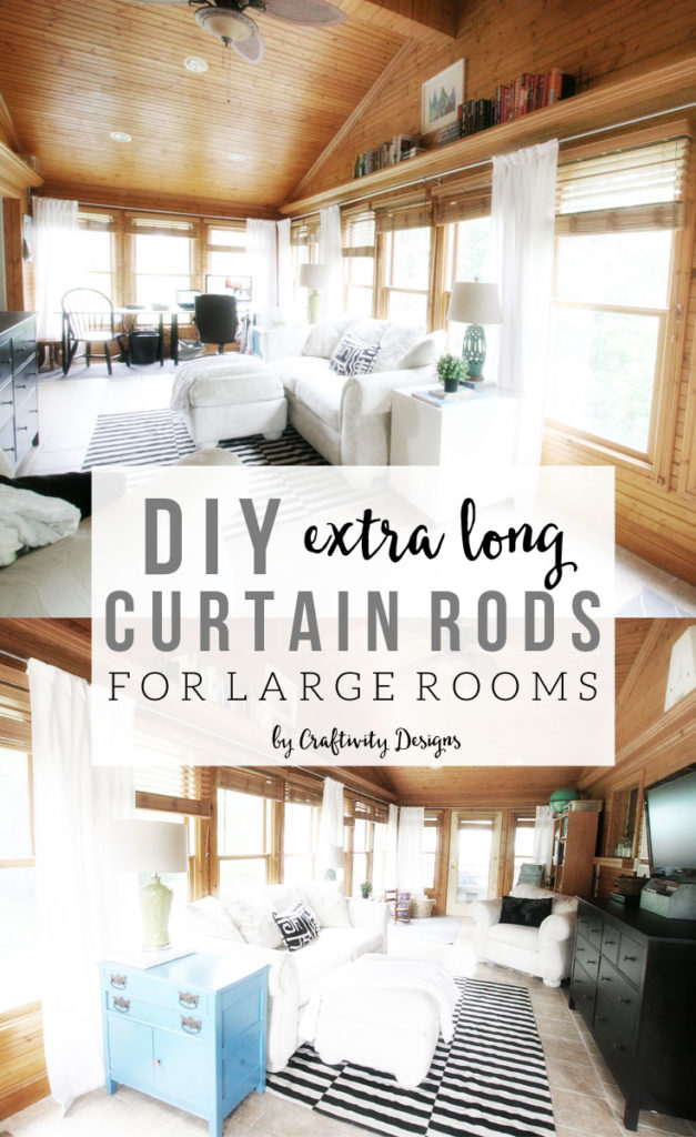 Diy Long Curtain Rod For Large Rooms Craftivity Designs