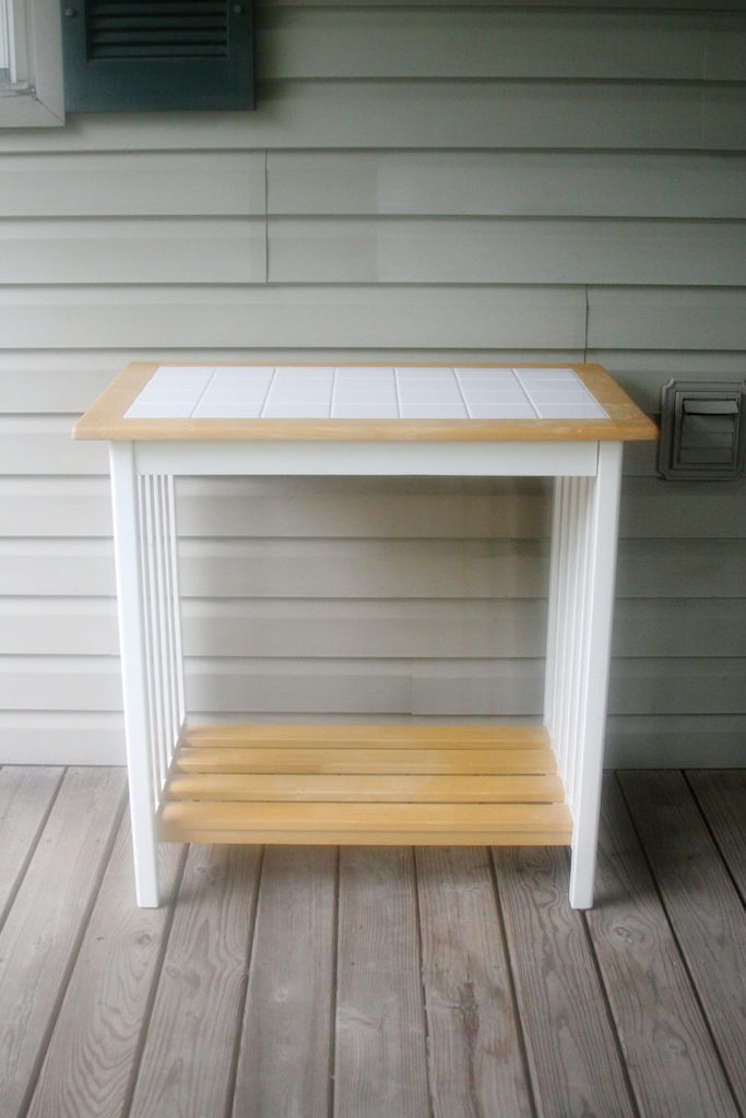 Simple breakfast table used to make an outdoor serving bar.