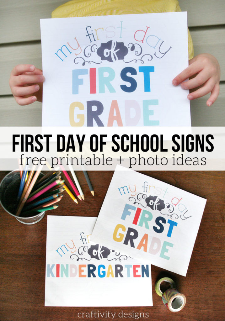FREE PRINTABLE First Day of School Signs, Back to School Photo Ideas and Photo Props, by @CraftivityD