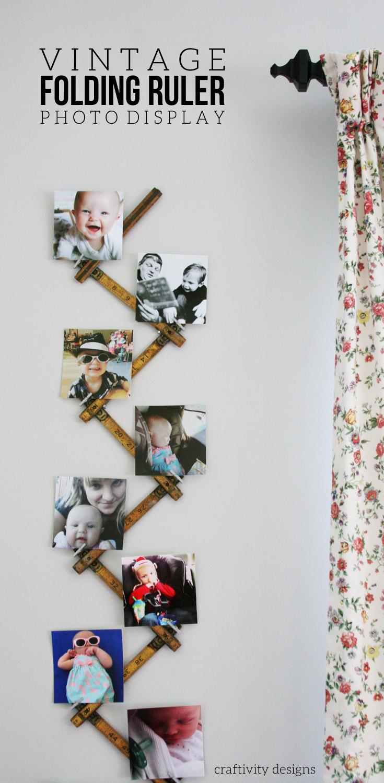 Folding Ruler Photo Display, DIY Photo Display Idea using a Vintage Folding Ruler, Instagram Photo Display, by @CraftivityD