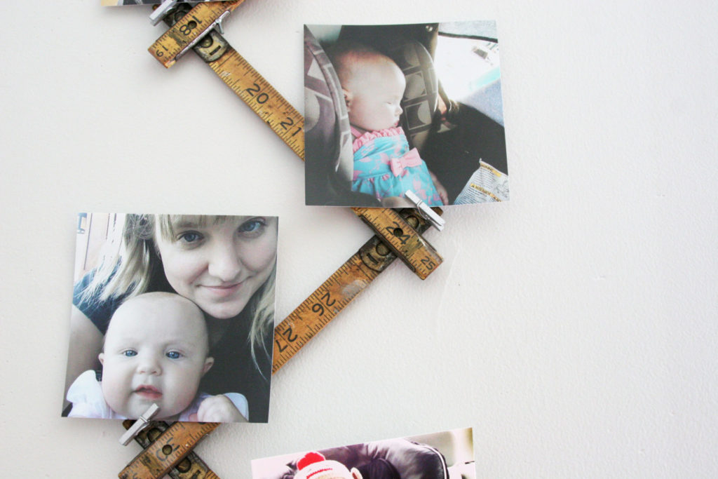 DIY Photo Display Idea using a Vintage Folding Ruler, Instagram Photo Display, by @CraftivityD