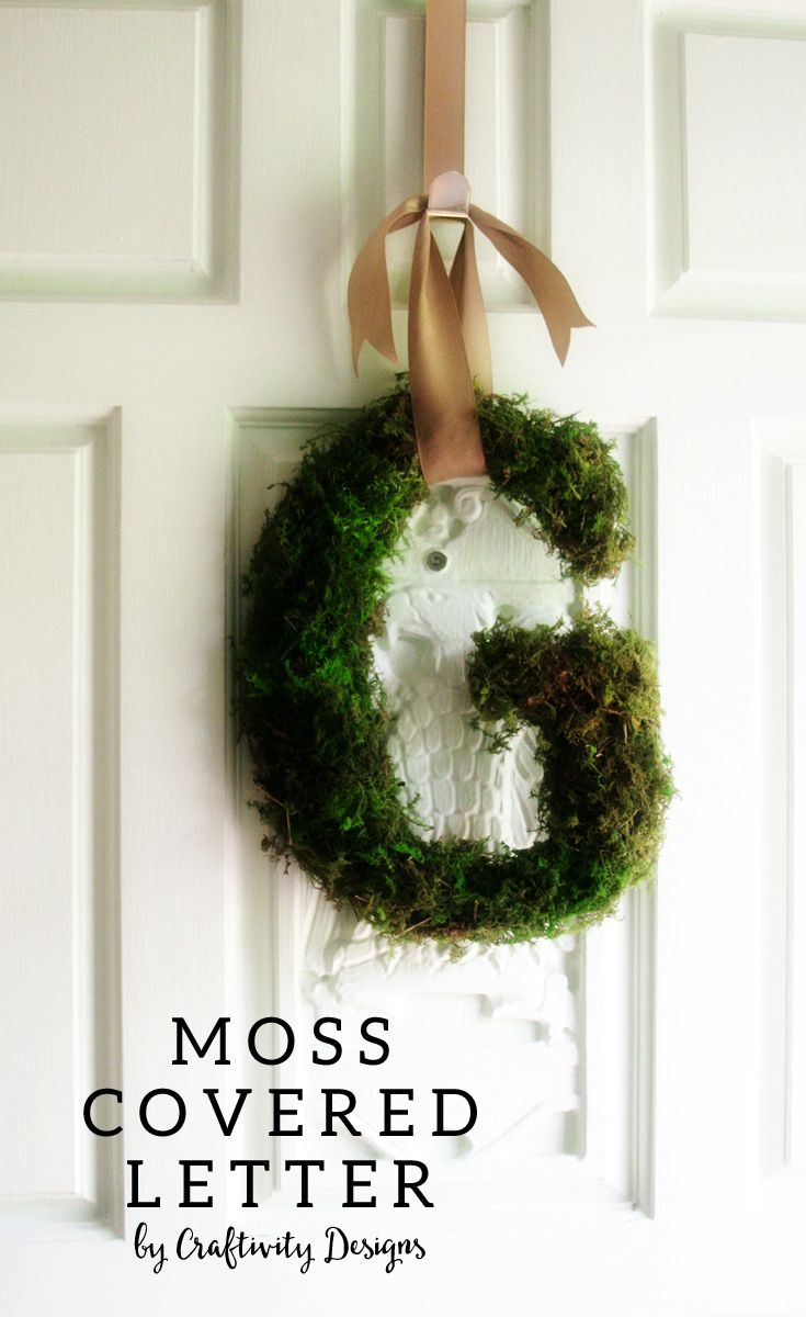 Moss Covered Letter Wreath by @CraftivityD