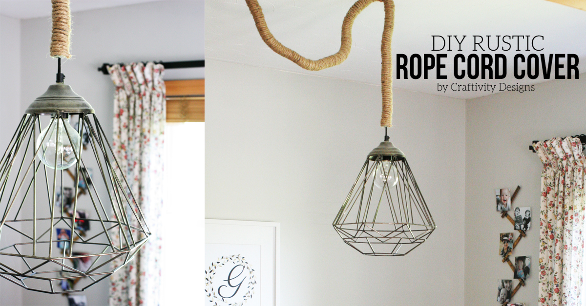 10 diy rustic lights using rope diy rope cord cover by craftivtyd - Cord Cover