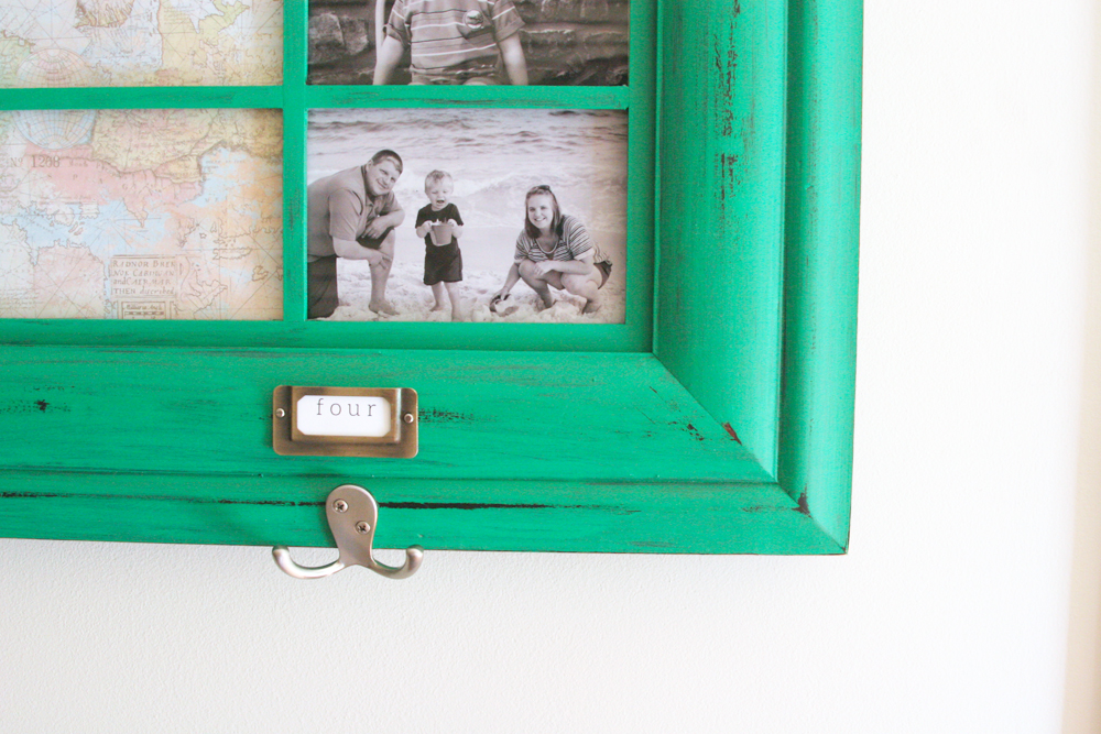 DIY family command center with coat hooks