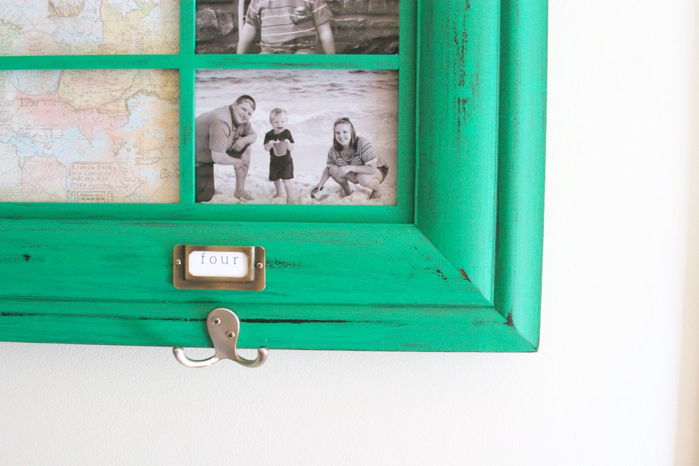 Family Command Center with photos, notes, labels, and coat hooks
