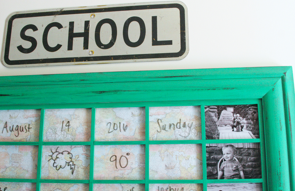vintage school sign hanging over family command center