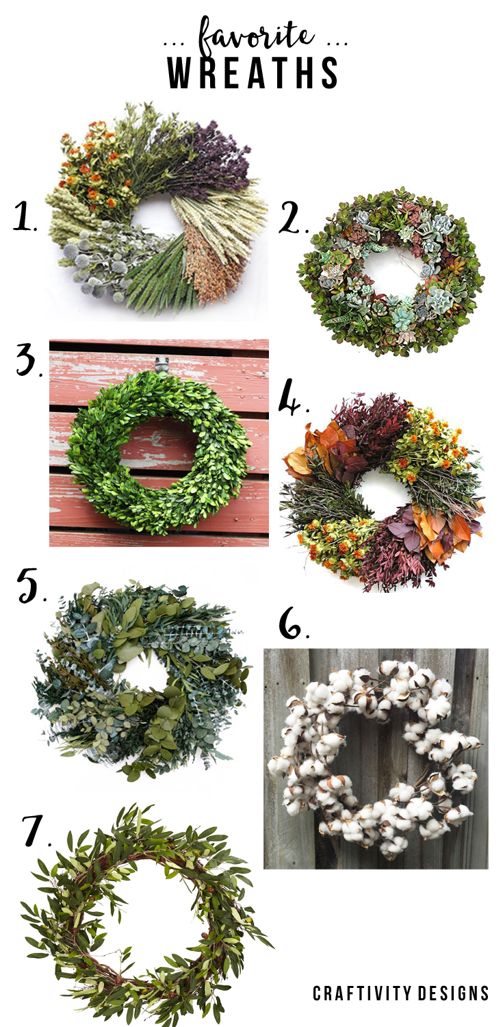 7 Favorite Wreaths from Amazon and Etsy, Fall Wreaths, Summer Wreaths by @CraftivityD