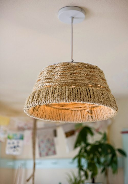 10 DIY Rustic Lights using rope + DIY Rope Cord Cover by @CraftivtyD