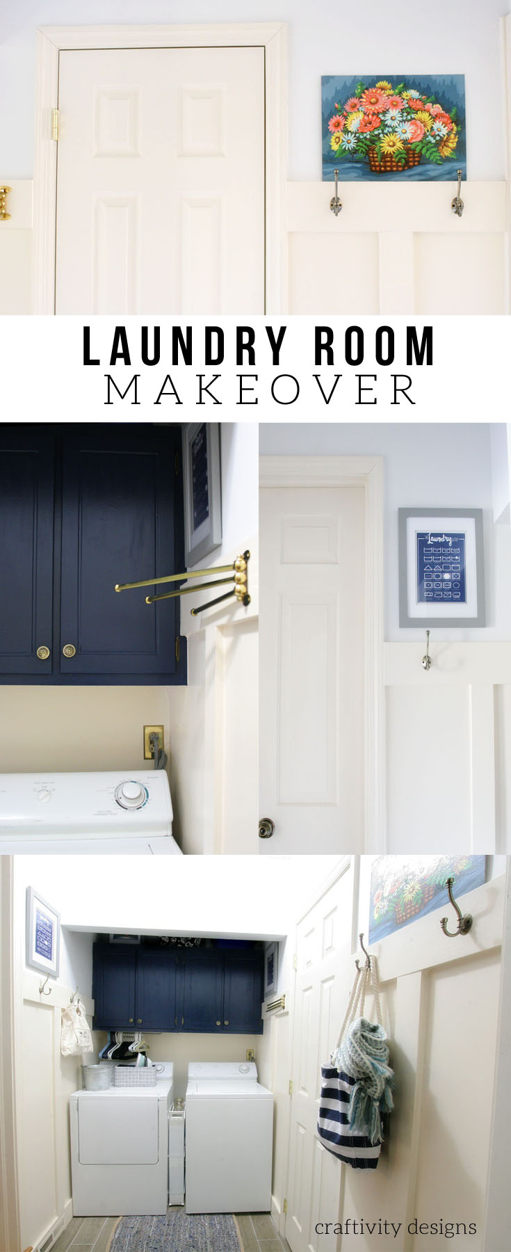 Small Laundry Room and Mudroom Makeover. Navy Laundry Room Renovation. Mudroom Renovation. Laundry Room and Mudroom Design. by @CraftivityD