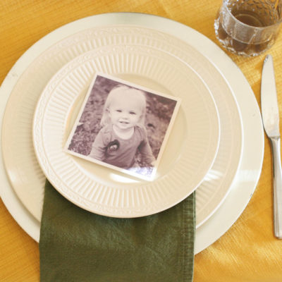 Simple Thanksgiving Table Setting with Family Photos