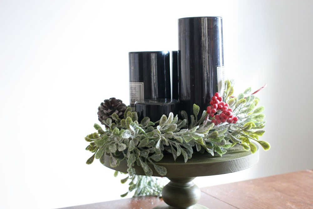 modern advent wreath with black candles