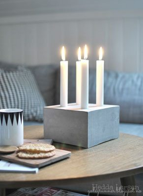 DIY Advent wreath made with a concrete block