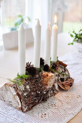 DIY Advent Wreath using candles and a log