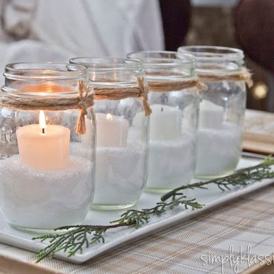 DIY Advent wreath made out of canning jars