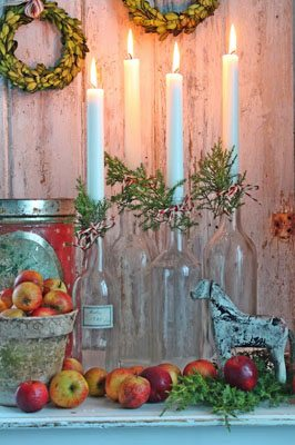 DIY Advent Wreath using glass bottles