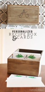 How to DIY a Personalized Recipe Box with Recipe Cards. A great Personalized Gift Idea for a wedding, bridal shower, Christmas and more! by @CraftivityD