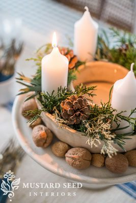 DIY Advent wreath in a ring mold with nuts