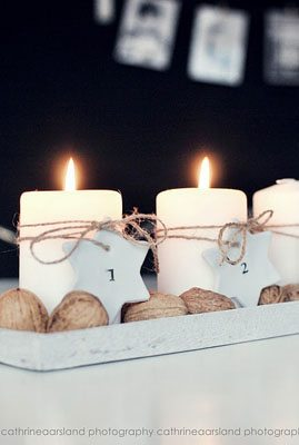 DIY Advent wreath with wooden stars