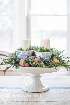 DIY Advent wreath using teacups