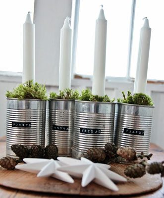 DIY Advent wreath with recycled tins
