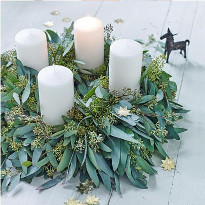 diy advent wreath made with fresh greenery