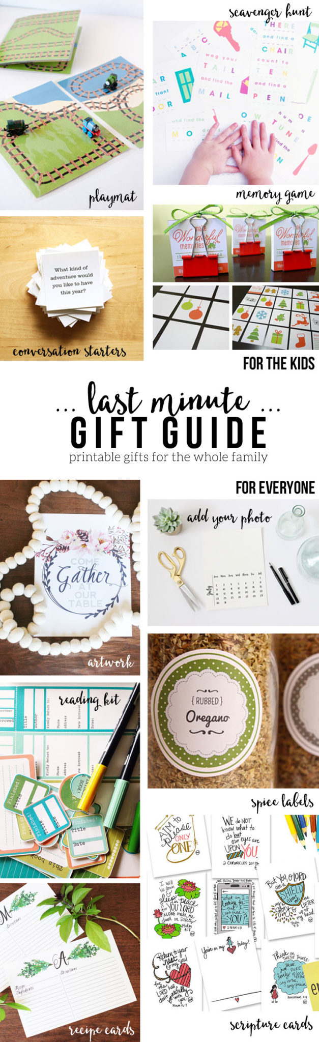 A Last Minute Gift Guide with Creative Ideas that won't seem last-minute! Everything is printable from games, to recipe cards, to calendars and more! Gifts for kids and adults -- all you will need is a printer and cardstock. by @CraftivityD
