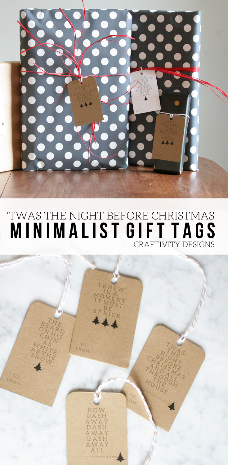 """Twas the Night Before Christmas"" Minimalist Gift Tags, Free Printable by @CraftivityD"