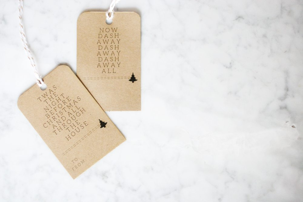 printable gift tags, minimalist christmas