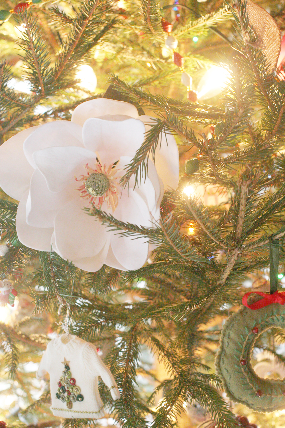 Magnolia Blooms in a Christmas Tree, Farmhouse Christmas Home Tour, Rustic, Cottage by @CraftivityD