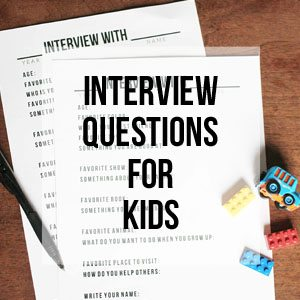 Interview Questions for Kids, Free Printable Library
