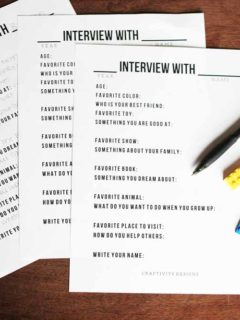 Get this set of 14 Interview Questions for Kids to complete each year. Use it as a Birthday Interview or at the start of the New Year. I great activity to jot down memories. Click the image to get the Free Printable by @CraftivityD