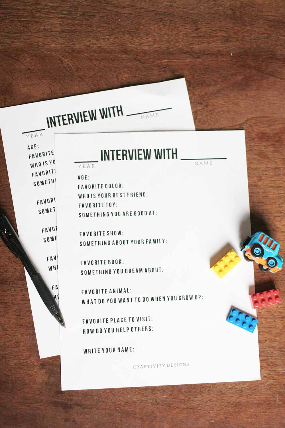Get this set of 14 Interview Questions for Kids to complete each year. Use it as a Birthday Interview or at the start of the New Year. A great activity to jot down memories. Printable Templates for Kids. Click the image to get the Free Printable by @CraftivityD