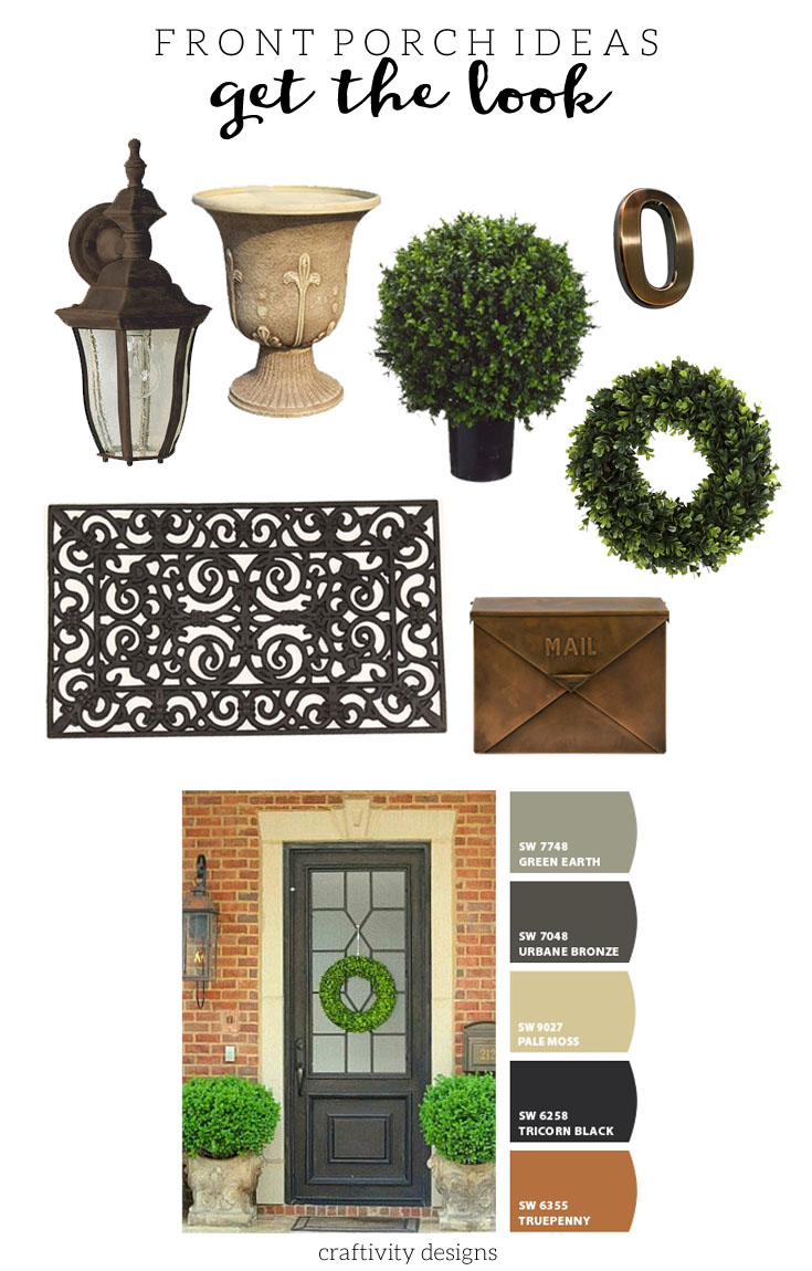 Gray Front Porch Ideas, Gray Front Door, Gray Exterior Paint Colors, Porch Makeover on a Budget, by @CraftivityD