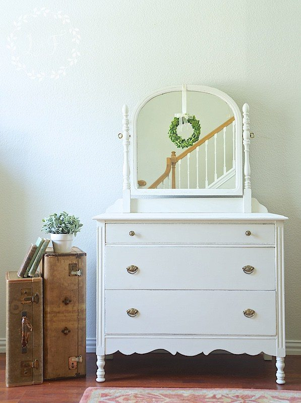 White Antique Dresser - by Lost and Found Decor