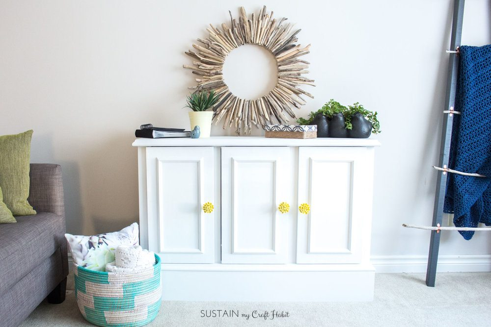 White Cabinet Makeover - by Sustain My Craft Habit