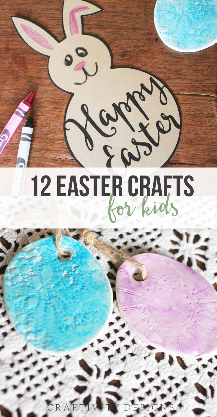 12 Easter Crafts for Kids, Watercolor Easter Eggs, Clay Easter Eggs, Easter Bunny Template, Easter Craft Ideas