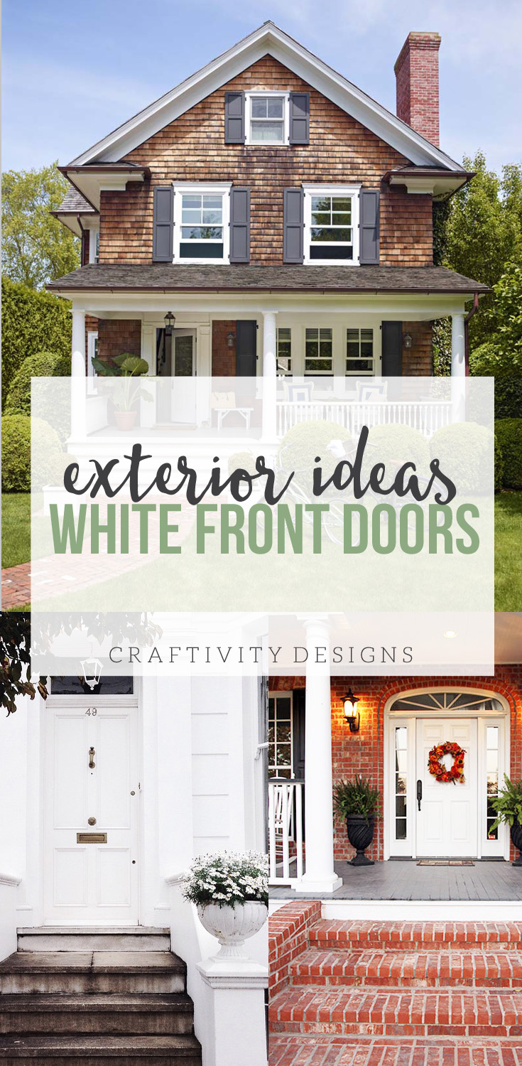 White Front Door Ideas, Exterior Design and Front Porch Ideas with paint color suggestions. by @CraftivityD