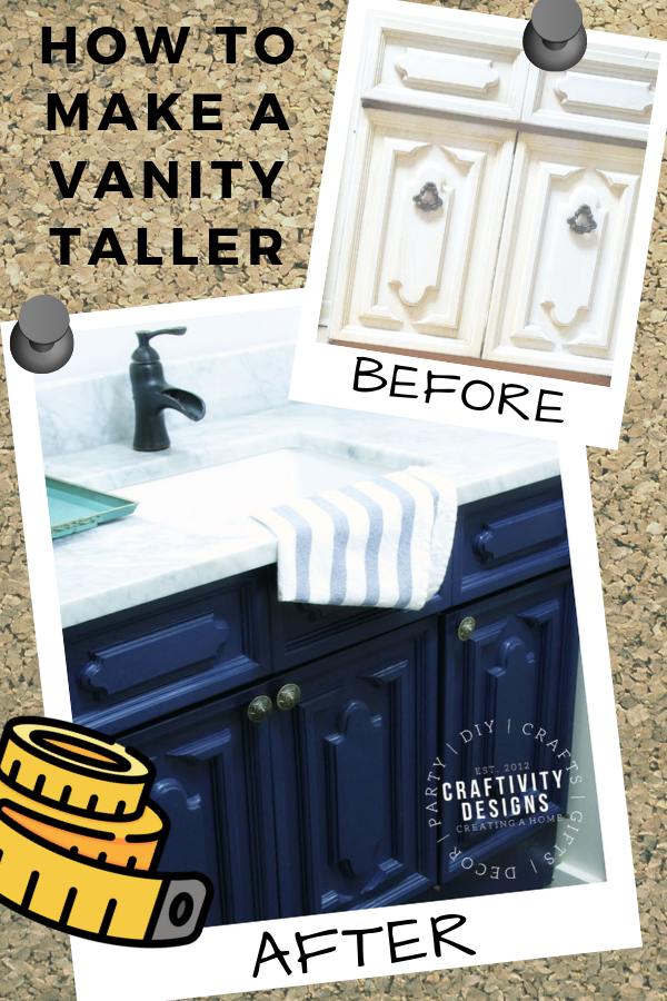 Short bathroom vanity? Learn how to make a vanity taller and deeper. A bathroom vanity makeover can be an affordable update!  #bath #renovation #makeover #diy Bath Vanity Makeover | Bathroom Vanity Makeover | Bath Cabinet Makeover | Bathroom Cabinet Makeover | How to Make a Vanity Taller | How to Make a Vanity Deeper | How to Update a Vanity | Update a Bathroom Vanity