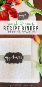How to make your own recipe binder. A DIY recipe binder printable and menu planning printable to make your own recipe binder. by @CraftivityD